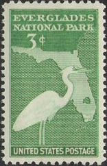 Green 3-cent U.S. postage stamp picturing bird and outline of Florida