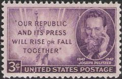 Purple 3-cent U.S. postage stamp picturing Joseph Pulitzer and Statue of Liberty