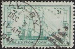 Blue green 3-cent U.S. postage stamp picturing U.S. frigate Constitution