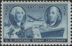 Blue 3-cent U.S. postage stamp picturing George Washington, Benjamin Franklin, and airplane, rider on horse, trains, and ship