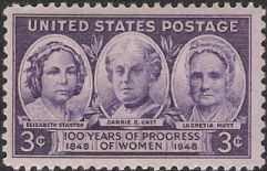 Purple 3-cent U.S. postage stamp picturing Elizabeth Stanton, Carrie Catt, and Lucretia Mott