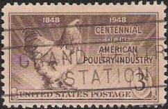 Brown 3-cent U.S. postage stamp picturing chicken