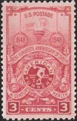 Red 3-cent U.S. postage stamp picturing torch and American Turners seal