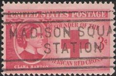 Red 3-cent U.S. postage stamp picturing Clara Barton and Red Cross