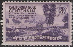 Purple 3-cent U.S. postage stamp picturing Sutter's Mill in Coloma, California