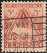 Brown orange 3-cent U.S. postage stamp picturing rocket launching from El Paso, Texas