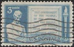 Blue 3-cent U.S. postage stamp picturing Abraham Lincoln and text 'That government of the people, by the people, for the people, shall not perish from the earth'