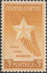 Yellow 3-cent U.S. postage stamp picturing Gold Star