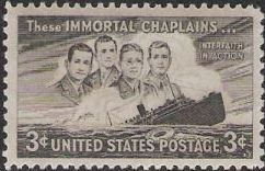 Black 3-cent U.S. postage stamp picturing four chaplains and S.S. Dorchester