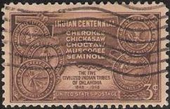 Brown 3-cent U.S. postage stamp picturing outline of Oklahoma and seals of Cherokee, Chickasaw, Choctaw, Muscogee, and Seminole tribes