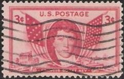 Red 3-cent U.S. postage stamp picturing Francis Scott Key