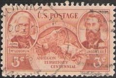 Brown red 3-cent U.S. postage stamp picturing covered wagon, John McLoughlin, and Jason Lee
