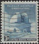 Blue 3-cent U.S. postage stamp picturing Palomar Mountain Observatory