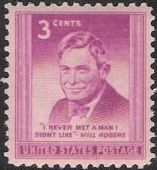 Red violet 3-cent U.S. postage stamp picturing Will Rogers