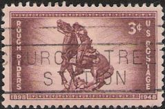 Purple brown 3-cent U.S. postage stamp picturing statue of rider on horse