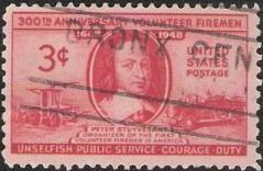 Red 3-cent U.S. postage stamp picturing Peter Stuyvesant and fire fighting equipment