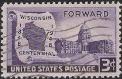 Purple 3-cent U.S. postage stamp picturing Wisconsin state capitol and outline of state