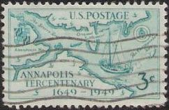 Blue green 3-cent U.S. postage stamp picturing map of Annapolis area