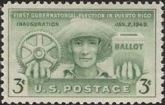 Green 3-cent U.S. postage stamp picturing farmer holding cogwheel and ballot box