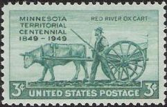 Blue green 3-cent U.S. postage stamp picturing ox pulling cart