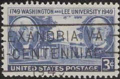 Blue 3-cent U.S. postage stamp picturing Washington and Lee University building, George Washington, and Robert E. Lee