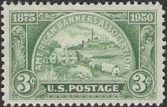 Green 3-cent U.S. postage stamp picturing farm and factory
