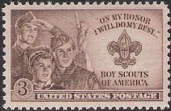 Brown 3-cent U.S. postage stamp picturing Boy Scouts
