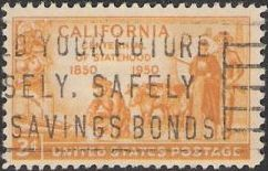 Yellow orange 3-cent U.S. postage stamp picturing settlers