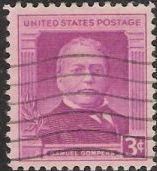 Red violet 3-cent U.S. postage stamp picturing Samuel Gompers