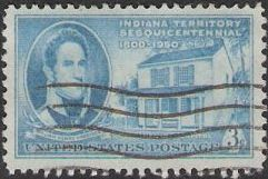 Blue 3-cent U.S. postage stamp picturing William Henry Harrison and first Indiana capitol