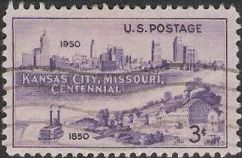 Purple 3-cent U.S. postage stamp picturing Kansas City skyline
