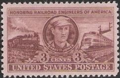 Brown 3-cent U.S. postage stamp picturing 'Casey' Jones and locomotives