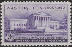 Purple 3-cent U.S. postage stamp picturing U.S. Supreme Court