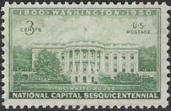 Green 3-cent U.S. postage stamp picturing White House