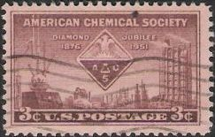 Brown violet 3-cent U.S. postage stamp picturing American Chemical Society symbol and equipment