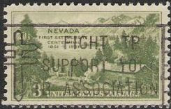 Green 1-cent U.S. postage stamp picturing Carson Valley, Nevada