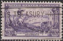 Purple 3-cent U.S. postage stamp picturing George Washington evacuating army from Brooklyn, New York