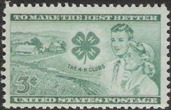 Green 3-cent U.S. postage stamp picturing farm, 4-H Clubs logo, boy, and girl