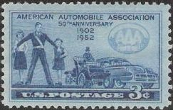 Blue 3-cent U.S. postage stamp picturing people and cars