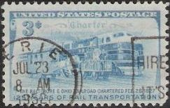 Blue 3-cent U.S postage stamp picturing trains