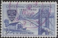 Blue 3-cent U.S. postage stamp picturing George Washington Bridge and covered wooden bridge
