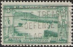 Blue green 3-cent U.S. postage stamp picturing Grand Coulee Dam