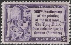 Purple 3-cent U.S. postage stamp picturing Johann Gutenberg