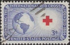 Blue and red 3-cent U.S. postage stamp picturing globe and Red Cross