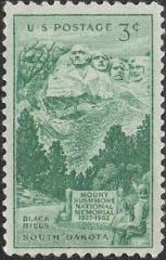 Green 3-cent U.S. postage stamp picturing Mount Rushmore