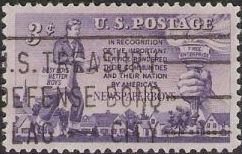 Purple 3-cent U.S. postage stamp picturing newspaper boy and torch