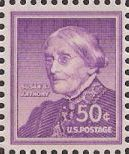 Purple 50-cent U.S. postage stamp picturing Susan B. Anthony