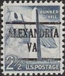 Gray blue 2.5-cent U.S. postage stamp picturing Bunker Hill Monument and Massachusetts flag