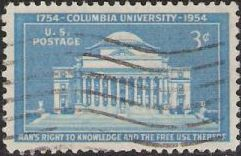 Blue 3-cent U.S. postage stamp picturing Low Memorial Library at Columbia University