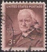 Violet brown 3-cent U.S. postage stamp picturing George Eastman